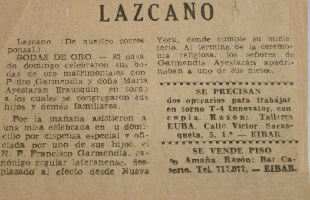 Lazcano | Bishop Garmendia